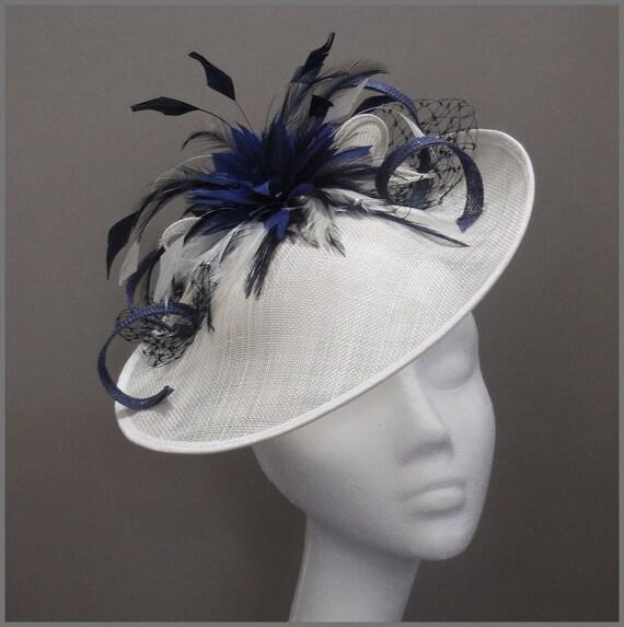 210629172e3 Saucer hat hatinator elegant disc fascinator in navy and