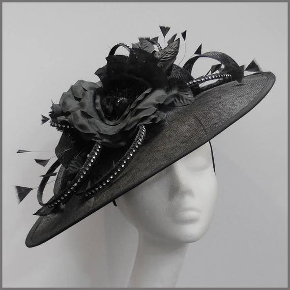 Race hat black saucer hat black disc fascinator saucer  a0404a0e397