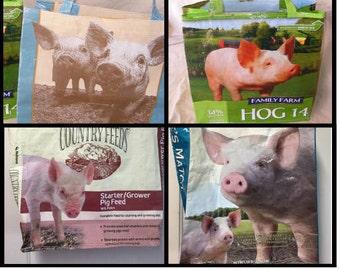 Pig Feed Bag Tote, Recycled Feed Market Bag, Reusable Shopping Tote, Up-cycled Feed Bag, Hog Feed Market Bag