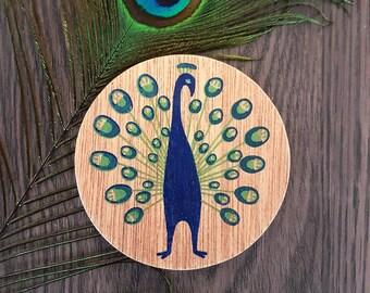 Peacock wooden coaster