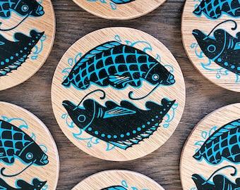 Fish wooden coaster