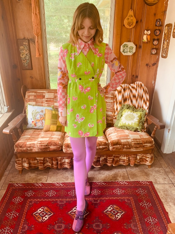 60's-70's lime green and pink BUTTERFLY mini dress