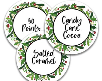 """EDITABLE Circle Christmas Wreath Labels 