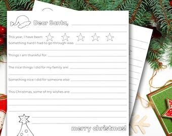 "Letter to Santa Printable | ""DEAR SANTA"" Christmas Letter | Letter to Santa | Coloring Letter to Santa |  8.5x11 PDF Digital Download"