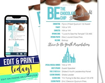 EDITABLE Be the Chocolate Chip Program | Teal and Grey Standard's Night Program + Hymns  | Double Sided INSTANT Digital Download with Corjl