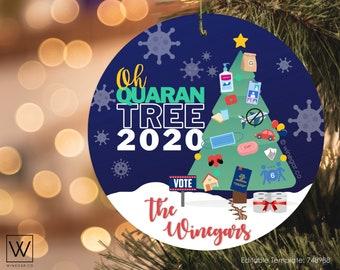 UT COVID Quaran-Tree Gift Tag | Printable Funny Christmas 2020 Round Ornament | Church of Jesus Christ Gift Tag | Digital Download Corjl PDF