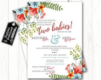 Double baby shower invitations etsy double baby shower floral invite dual garden babyshower invitation its a girl two babies personalized digital download 4x6 or 5x7 jpg filmwisefo