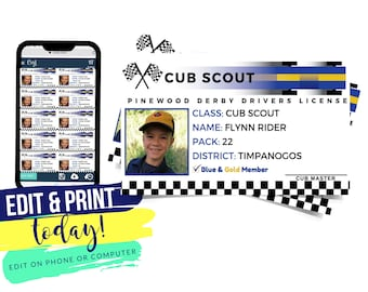 """Cub Scout Pinewood Derby Drivers License,  Checkered Race Car 