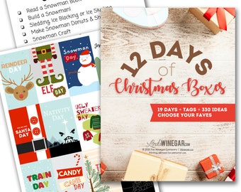 12 Days of Christmas Boxes | Themed Day Tags | 12 Days of Christmas for Kids | 330 Christmas Activities for Families | Digital Download PDF
