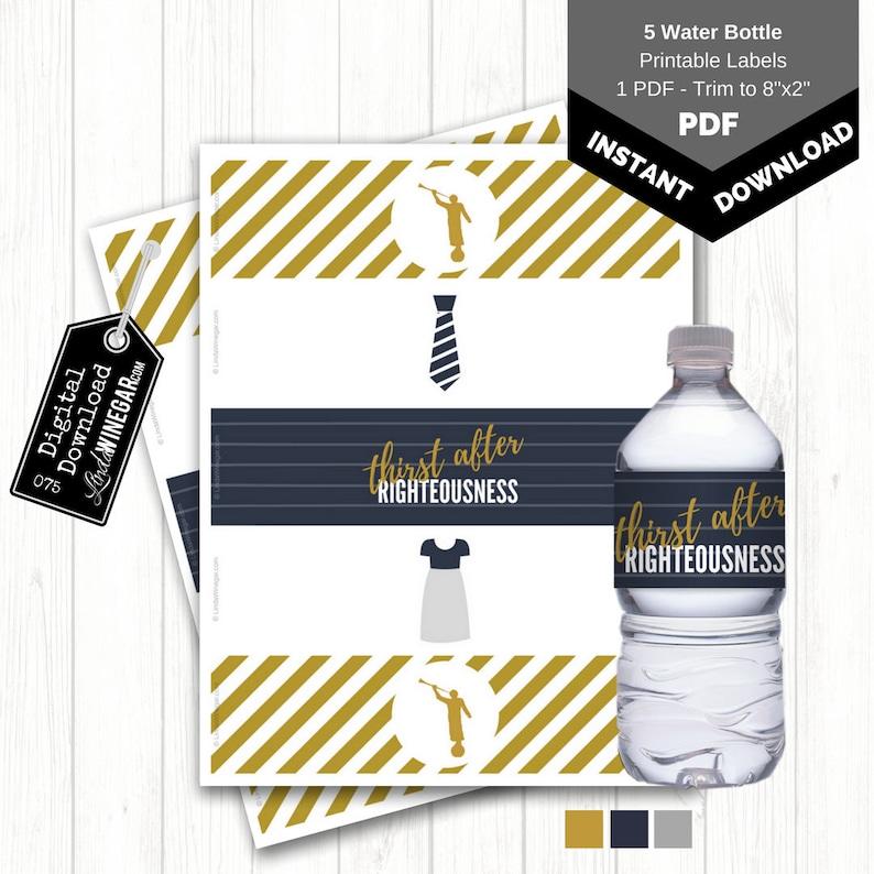 Angel Moroni Water Bottle Labels  LDS Baptism Favor  Temple image 0