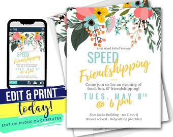 Speed Friendshipping Invite + Free Cupcake Toppers PDF | LDS Relief Society Invitation | Corjl Editable INSTANT Digital Download 4x6 & 5x7