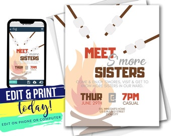 Meet S'more Sisters Fall Invite | Relief Society Activity Invitation | Editable INSTANT Digital Download with Corjl 4x6 & 5x7