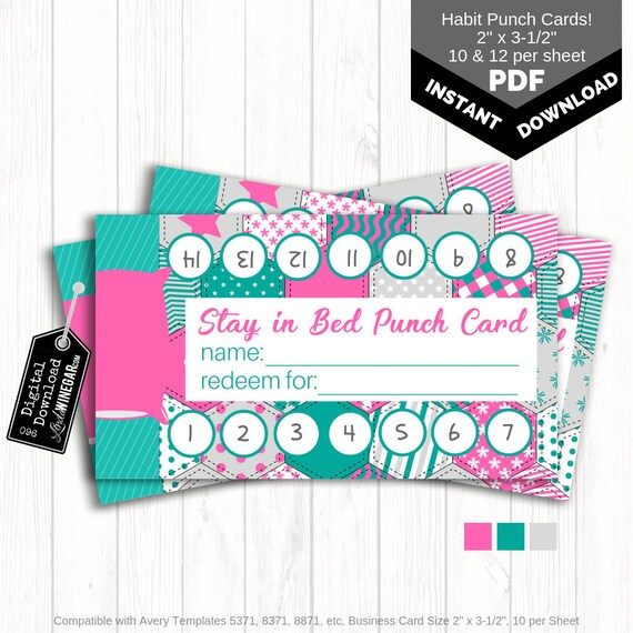 Stay In Bed Punch Card Habit Cards For Kids Bedtime Etsy