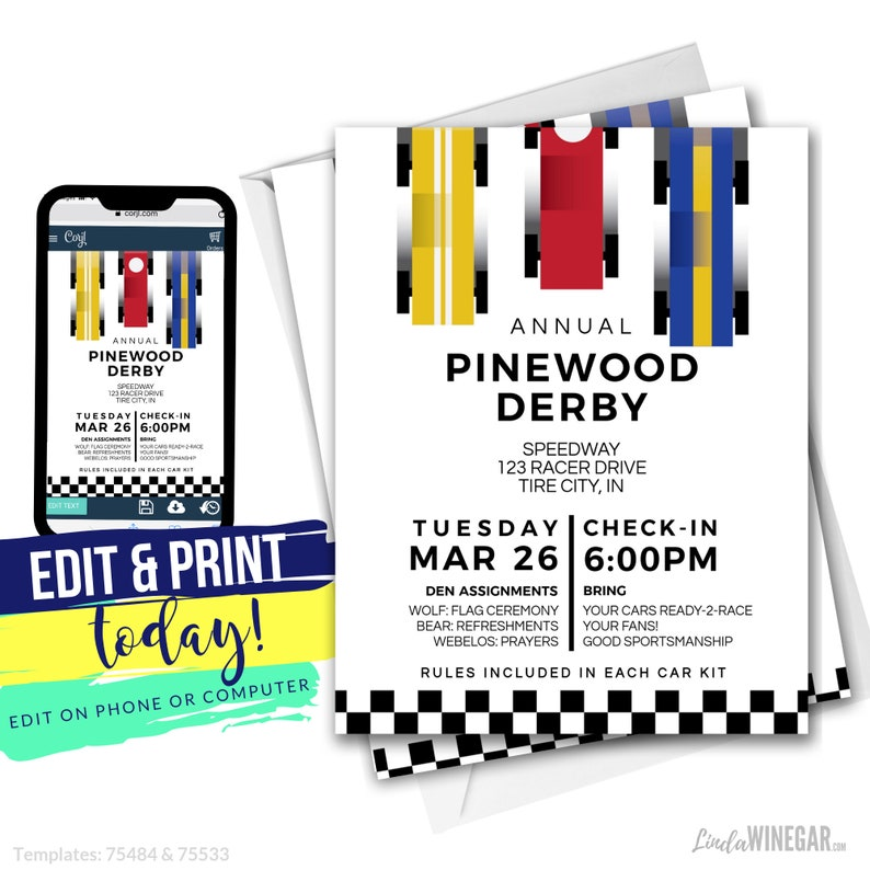 Cub Scout Pinewood Derby Invitation Blue Yellow Red Etsy