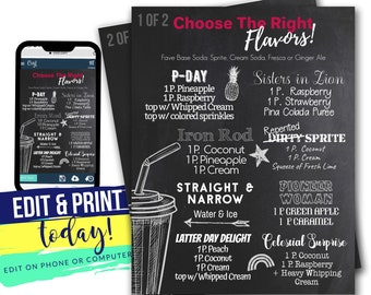 Editable SODA-Lighted Soda Menu | Latter Day Saint Soda Bar Menu |  Christian Soda Bar Menu | INSTANT Digital Download with Corjl 8.5x11 PDF