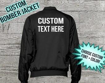 Custom Bomber Jacket - Unisex Personalized Bomber Jacket - Custom Text - Custom Jacket - Customizable Clothing - Custom Gift - Monogram Gift