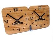 Roco Verre Oak Mantel Time Zone Clock