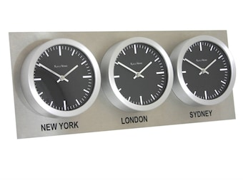 Time zone clock etsy roco verre personalised 3 timezone stainless steel world clock gumiabroncs Gallery