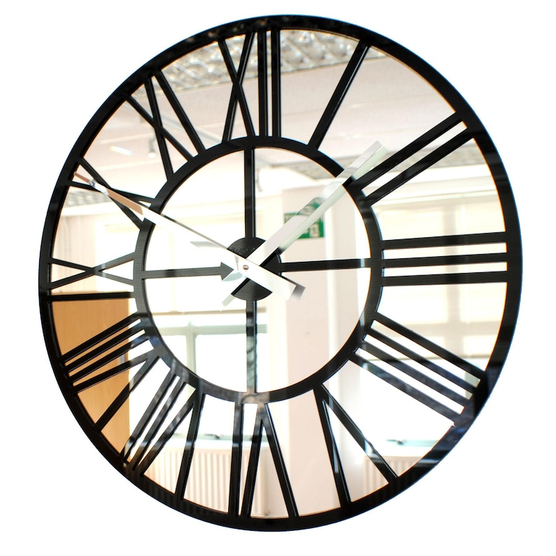 Roco Verre Gloss Acrylic and Mirror Skeleton Wall Clock