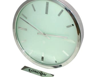 Roco Verre Personalised Frosted Swiss Empire Cased Time Zone Wall Clock and Sign