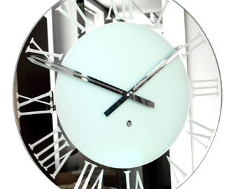 Roco Verre Frosted Roman Mirror Wall Clock