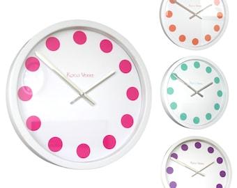 Roco Verre White Cased Coloured Spot Wall Clock