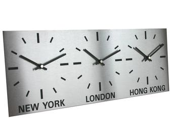 Roco Verre Brushed Stainless Steel Time Zone World Wall Clocks