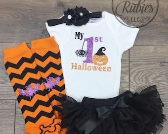 215fc8bfa Baby girl First Halloween outfit My 1st boo Newborn girl's Halloween set  Baby Girl Fall outfit 1st fall onesie Glitter Halloween outfits