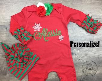 840c92dbc First Christmas pajamas baby girl Personalized christmas outfit Christmas  romper Baby girl First Christmas pjs Christmas hat personalized pj