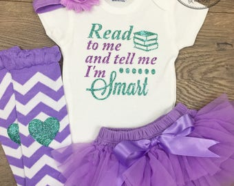 87d34eb6 Baby Girl Outfit Read to me and tell me I'm smart Glitter Newborn Baby Girl  Outfit back to school New Baby girl shower gift baby girl set