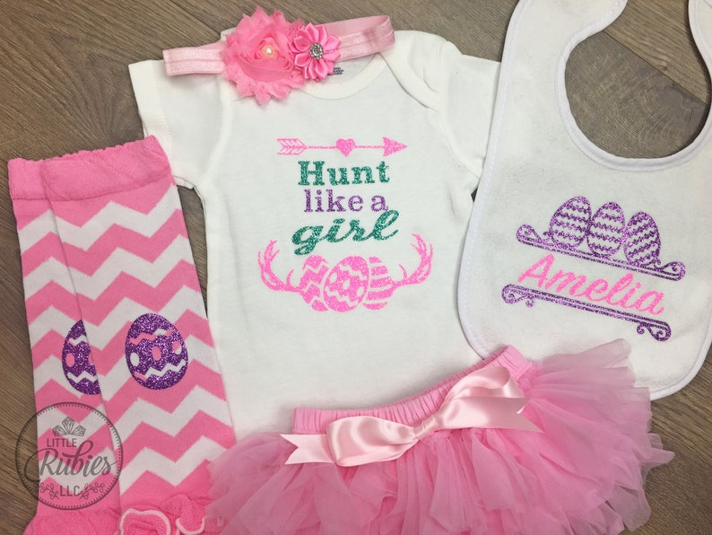 Easter outfit baby girl Easter Egg Hunt outfit for baby girl I Hunt like a girl onesie Egg hunt dress Easter dress baby girl easter outfit