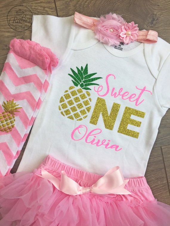 Personalized  baby girl pineapple onesie with sequin skirt and hair bow Custom pineapple outfit