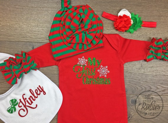 Christmas Pajamas Baby Girl First Christmas Outfit