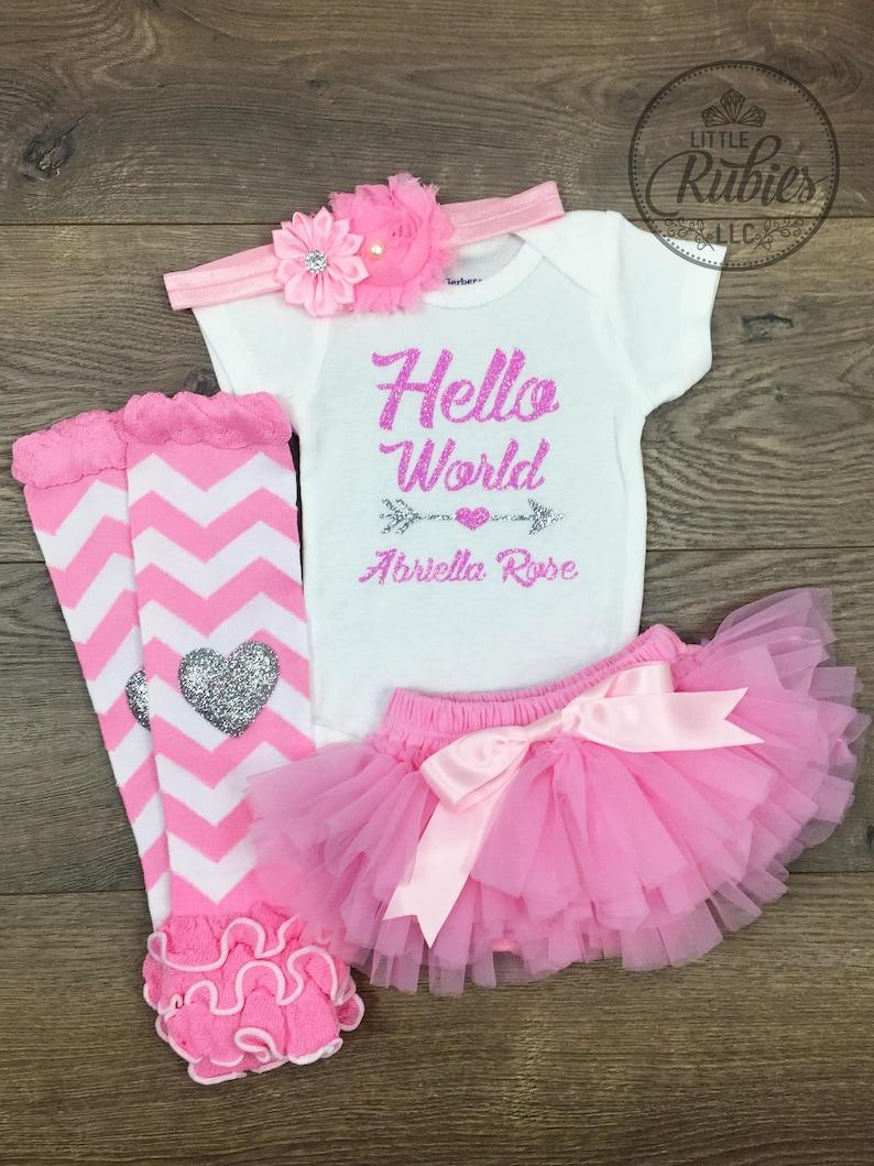c620dea92637 Newborn girl coming home outfit Baby girl Hello World newborn