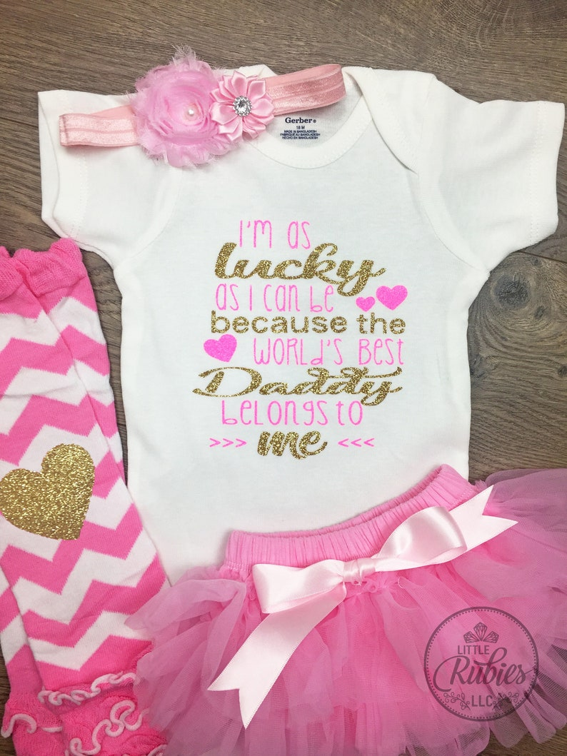 f4d97b545 Baby girl Father's day outfit Worlds best Daddy | Etsy