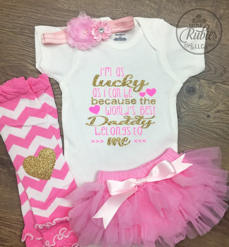 6511ccb1f328 Baby girl Father s day outfit Worlds best Daddy