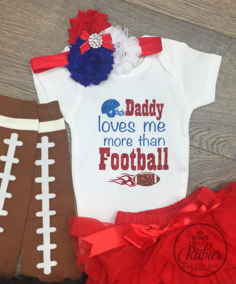 Baby girl football outfit Daddy loves me more than football First football season girl outfit 1st football season baby girl outfit Customize