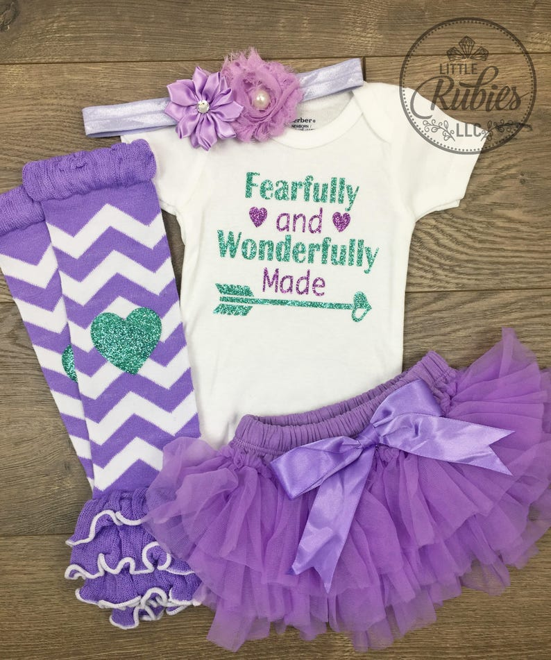 c619a2115 Christian baby girl outfit Fearfully and Wonderfully Made baby | Etsy