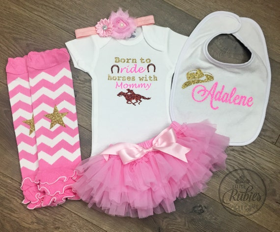 c3bd3f001724a Baby girl shower gift Cowgirl outfit Born to ride horses