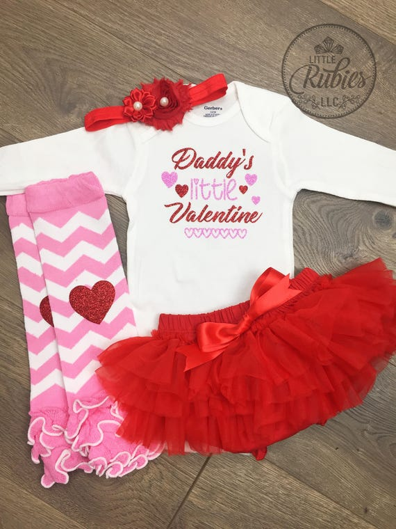 Baby Girl Valentine S Day Outfit Daddy S Little Etsy