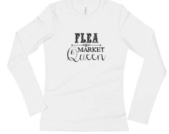 Yard Sale Queen Tee   Long Sleeve White Tee With Black Lettering   Junker   Junk   Thrift
