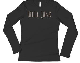 Hello, Junk Long Sleeve Tee With Pale Coral-Pink Lettering   Junker   Junk   Thrift
