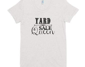 Yard Sale Queen Tee   White Tee With Black Lettering   Junker   Junk   Thrift