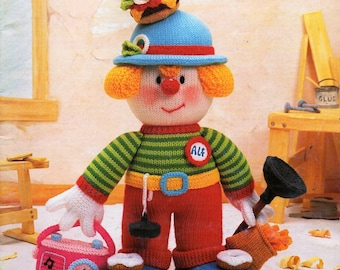 original Jean Greenhowe's Tradesmens Clowns knitting pattern book 3 clown dolls Red Nose Gang Part 4 D light worsted 8ply paper pattern