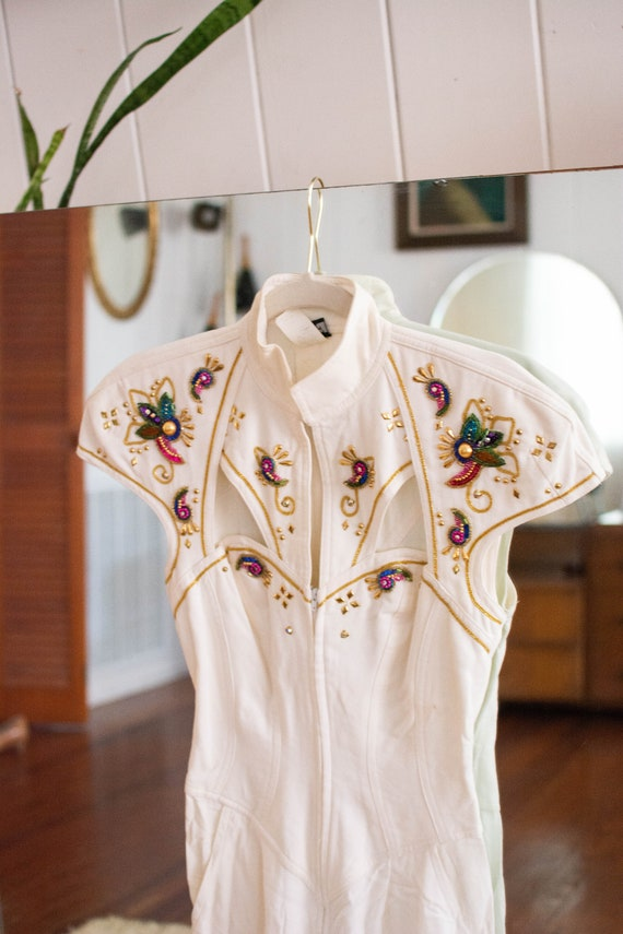 1980s glam white & beaded jumpsuit