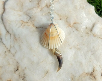 Shell and Fox Claw Choker in silver