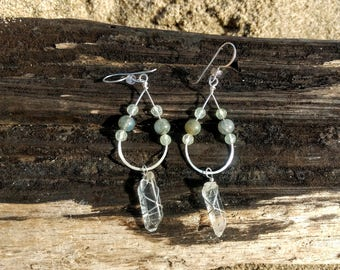 Quartz crystal gold earrings with Labradorite