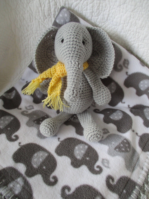 Crochet elephant doll and elephant double fleece blanket