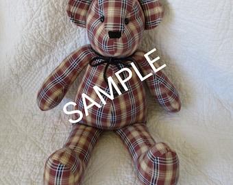 Custom bear, Memory Bear,  keepsake bear, made from your loved ones clothes, priced under 40, stuffed bear