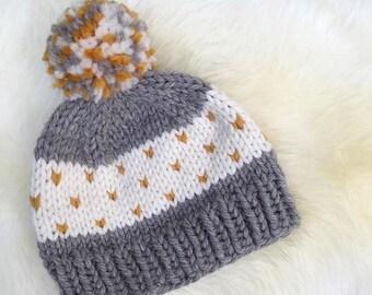 KNITTING PATTERN, beginner knitting pattern, hat knitting pattern, heart hat knitting pattern, toque knitting pattern, knit beanie pattern